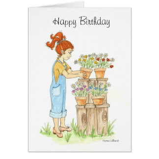 Birthday Little Girl Garden Greeting Card