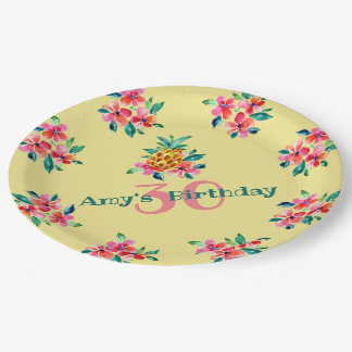 Birthday Luau Pineapple and Hibiscus Flowers Paper Plate