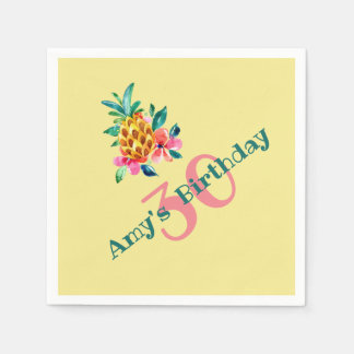 Birthday Luau Pineapple Paper Napkin