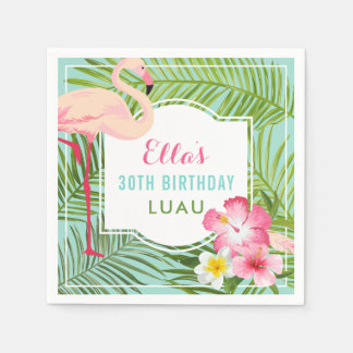 Birthday Luau   Tropical Flamingo Napkin