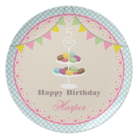 Birthday Macarons Plate Blue Gingham