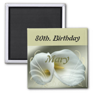 Birthday Magnet with white lily design
