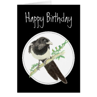 Birthday Magpie, Watercolor Bird Collection, Card
