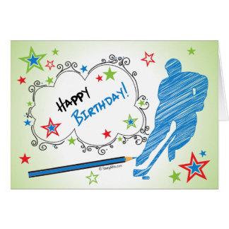 Birthday! Male Scribble Hockey Greeting Card