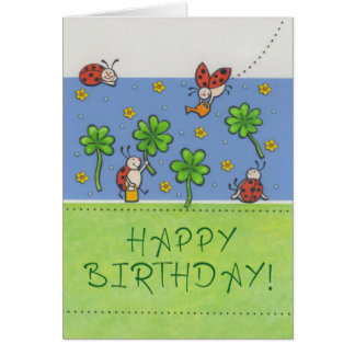Birthday map Happy Birthday with clover sheets Card