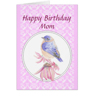 Birthday Mom, Lace, Bluebird Flower Garden Card