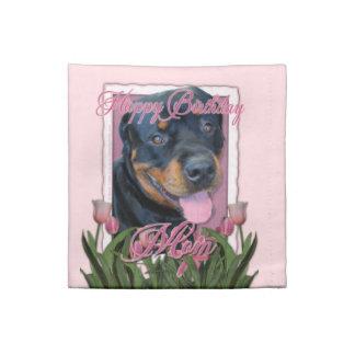 Birthday MOM - Pink Tulips - Rottweiler - Harley Cloth Napkins