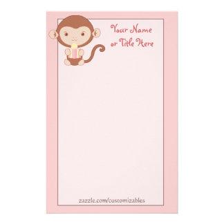 Birthday Monkey Pink Stationary Customized Stationery