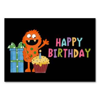 Birthday Monster cartoon table card