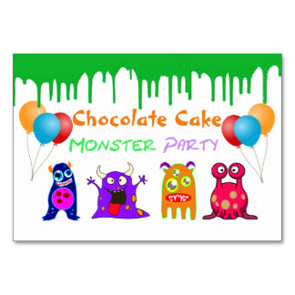 Birthday Monster Party Personalized Dish Name Card