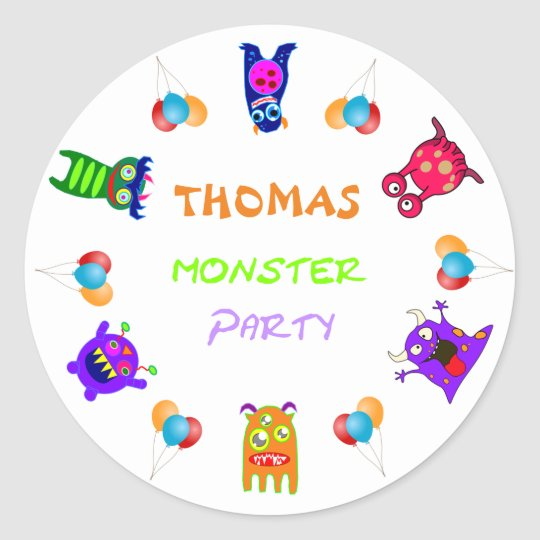 Birthday Monster Party Personalized Party Favours Classic Round Sticker