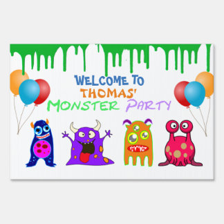 Birthday Monster Party Personalized Sign