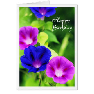 Birthday - Morning Glories Greeting Card