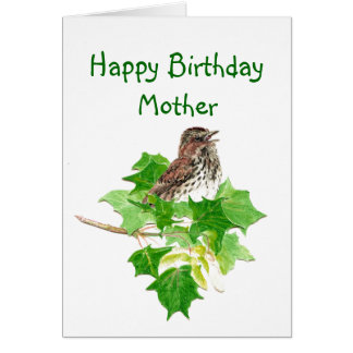 Birthday Mother Watercolor Song Sparrow Nature Card