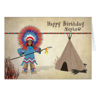Birthday - Nephew - Native Indian Fun Card