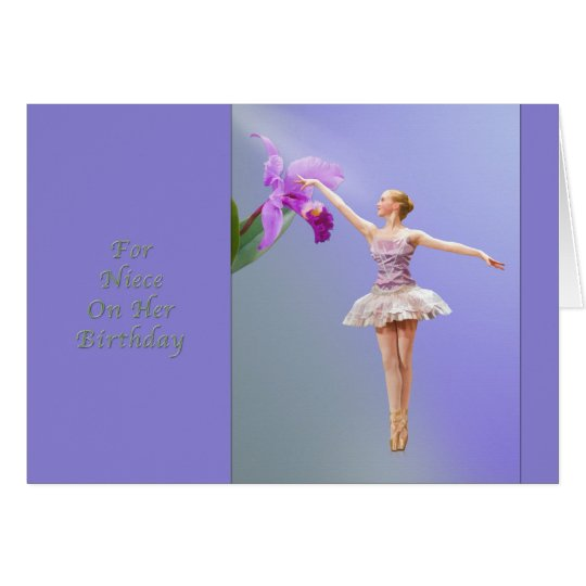 Birthday, Niece, Ballerina, Orchid Card