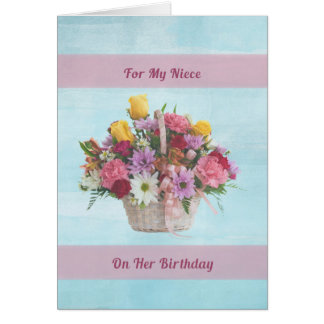 Birthday, Niece, Colorful Flowers in a Basket Card