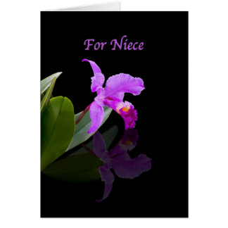 Birthday, Niece, Orchid Reflected on Black Card