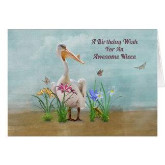 Birthday, Niece, Pelican, Flowers and Butterflies Card
