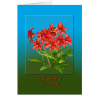 Birthday,  Niece, Red Day Lilies Card