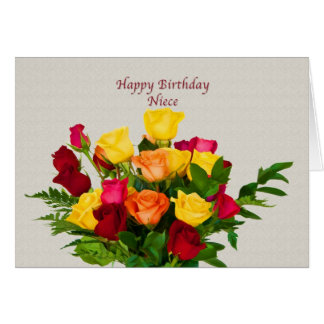 Birthday, Niece, Rose Bouquet Card