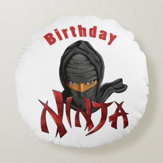 Birthday Ninja Round Pillow