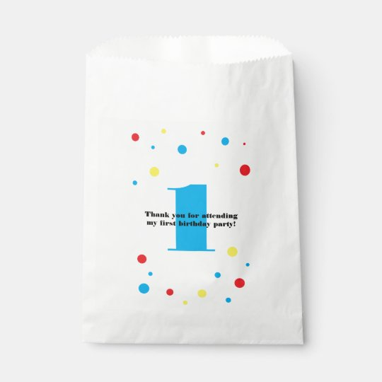 Birthday Number Colour Polka Dots Favour Bag