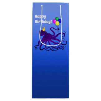 Birthday Octopus On Blue - Wine Gift Bag