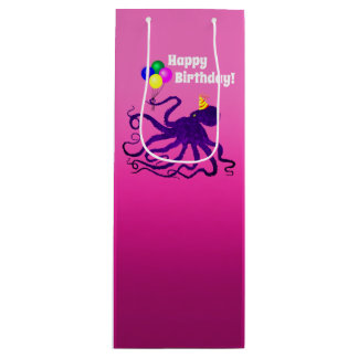 Birthday Octopus On Pink - Wine Gift Bag