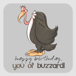 Birthday old buzzard mens party sticker