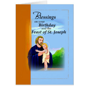 Happy feast day cards photocards invitations more birthday on feast of st joseph blue and brown card m4hsunfo Images