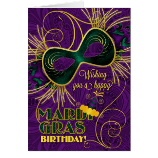 Birthday on Mardi Gras Purple with Green Gold Card