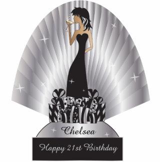 Birthday or Bachelorette Diva Girl | Silver Standing Photo Sculpture