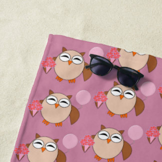 Birthday Owl Beach Towel