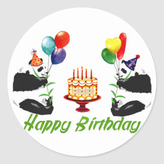 Birthday Pandas Classic Round Sticker