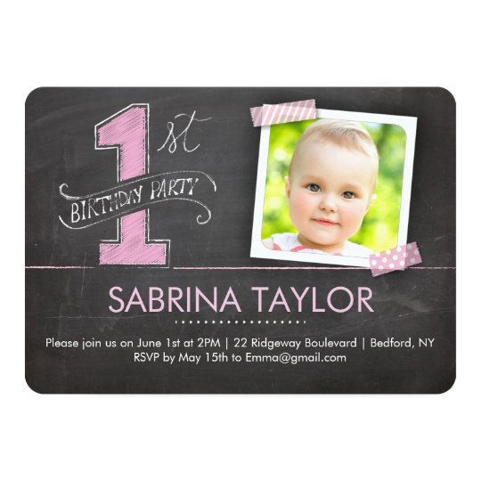 Birthday Party | 1st Chalkboard with Tape Pink Card