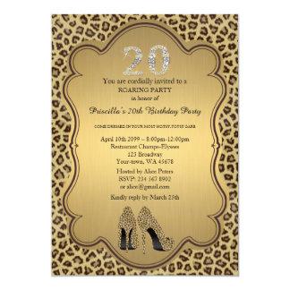 "Birthday Party 20th,Cheetah High Heels Shoes 5"" X 7"" Invitation Card"