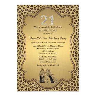 "Birthday Party , 21st,Cheetah High Heels Shoes 5"" X 7"" Invitation Card"