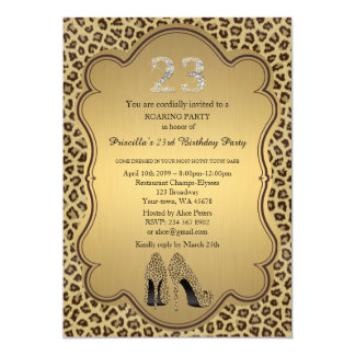 "Birthday Party , 23rd,Cheetah High Heels Shoes 5"" X 7"" Invitation Card"