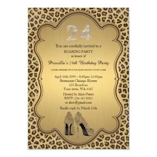 "Birthday Party, 24th,Cheetah High Heels Shoes 5"" X 7"" Invitation Card"