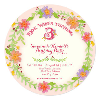 "Birthday Party 3 Years Old Girl, Watercolor Floral 5.25"" Square Invitation Card"