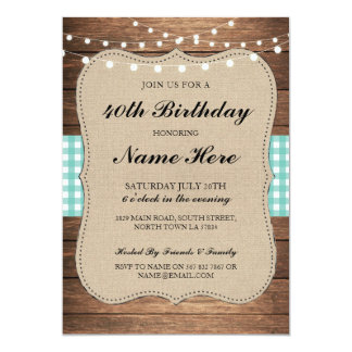 Birthday Party 40th 50th Check Rustic Wood Invite