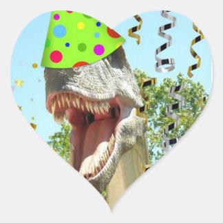 Birthday Party Animal Dinosaur Heart Sticker