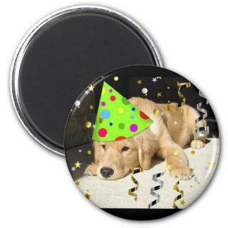 Birthday Party Animal Golden Retriever Refrigerator Magnets