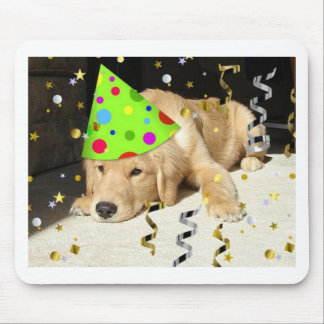 Birthday Party Animal Golden Retriever Mouse Pad