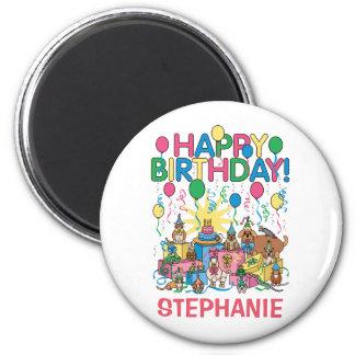 Birthday Party Animals 2 Inch Round Magnet