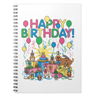 Birthday Party Animals Spiral Notebook