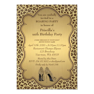 Birthday Party , any age,Cheetah High Heels Shoes Card