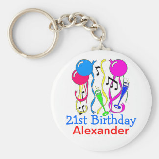 Birthday Party-Balloons 21st Personalize It! Keychain