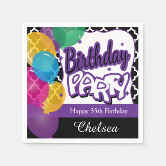 Birthday Party Balloons - Purple Paper Napkin